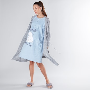 Printed Maternity Sleep Dress with Textured Robe