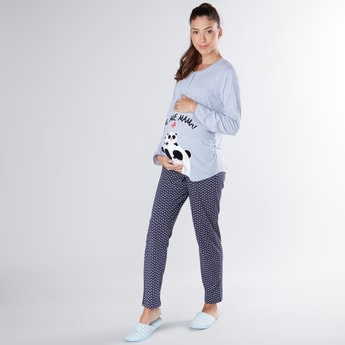 Maternity Printed Round Neck T-shirt and Full Length Pyjama Set