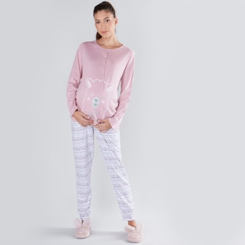Printed Henley Neck T-shirt and Full Length Pyjama Set