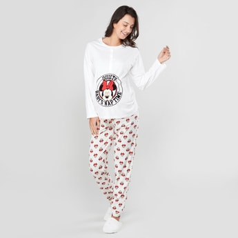 Maternity Minnie Mouse Printed T-shirt and Jog Pants Set