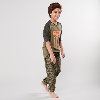 Camo Printed T-shirt and Jog Pants Set