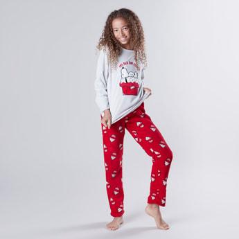 Snoopy Printed T-shirt and Full Length Pyjama Set
