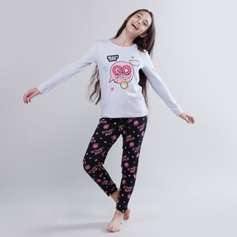 Embroidered Long Sleeves T-shirt and Printed Pyjama Set