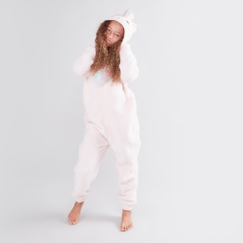 Textured Sleepsuit with Unicorn Hood and Long Sleeves