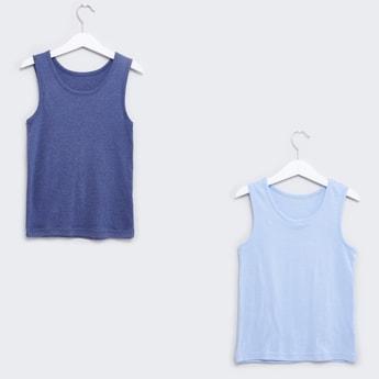 Set of 2 - Textured Sleeveless Vests with Scoop Neck