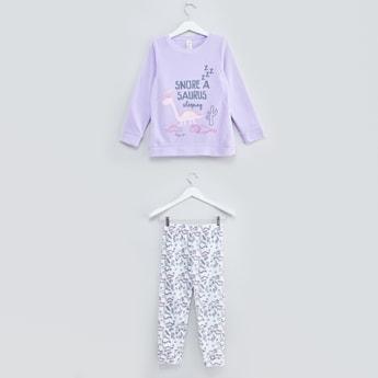 Graphic Printed T-shirt and Pyjama Set