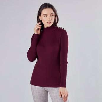 Ribbed High-Neck Sweater with Long Sleeve and Button Accent