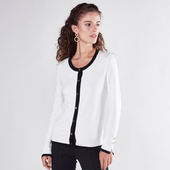 Plain Cardigan with Long Sleeves and Complete Placket