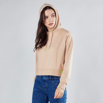 Plain Hoodie with Drop Shoulder Long Sleeves