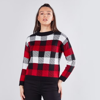 Chequered Sweater with Round Neck and Long Sleeves