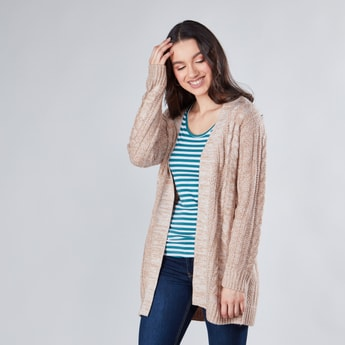Textured Cable Knit Sweater with Long Sleeves