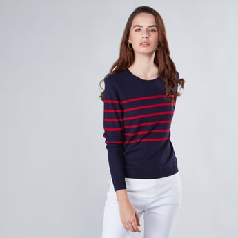 Striped Sweater with Round Neck and Long Sleeves