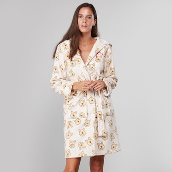 Printed Robe with Front Knot Closure