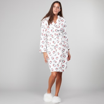 Printed Bath Robe with Front Knot Styling