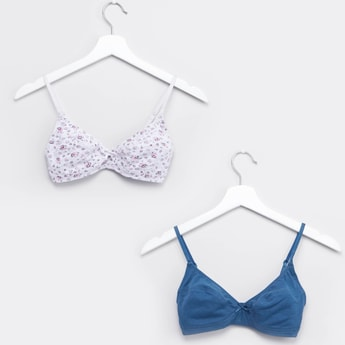 Set of 2 - Printed Basic Bra with Hook and Eye Closure