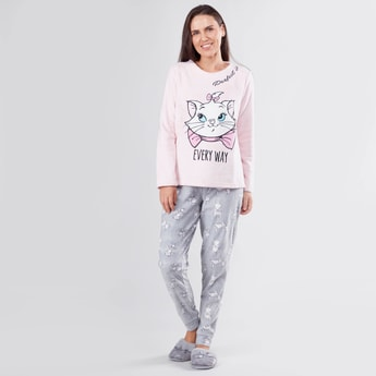 Marie the Cat Printed Long Sleeves T-shirt and Jog Pants