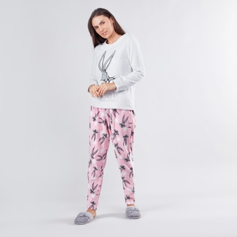 Bugs Bunny Printed Round Neck T-shirt with Pyjama Set