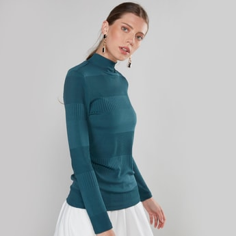 Textured Top with High Neck and Long Sleeves