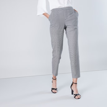 Ankle Length Checked Trousers with Pocket Detail