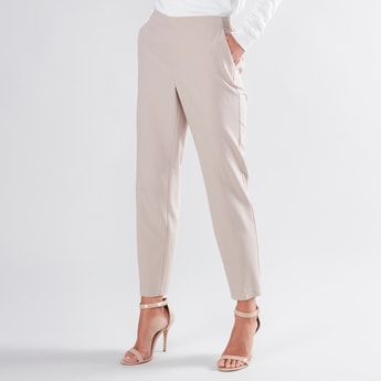 Solid Ankle Length Trousers with Pockets