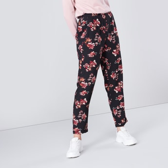 Floral Print Mid-Rise Pants with Pleated Waistband