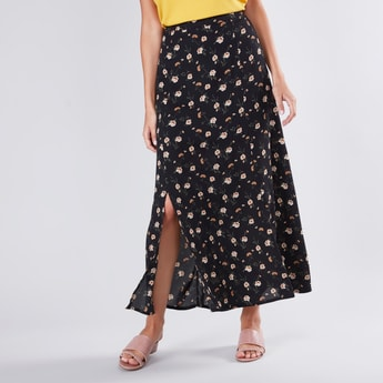 Printed Maxi A-line Skirt with Elasticised Waistband and Side Slit
