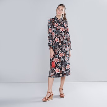Floral Printed Bow Detail Dress with Long Sleeves and Tie Up