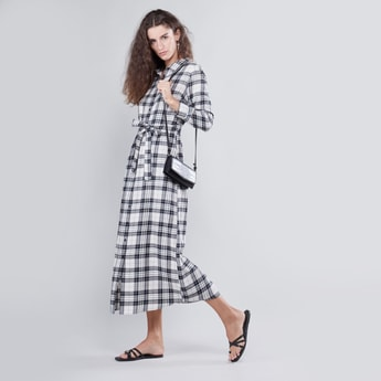 Checked Maxi Shirt Dress with Roll Tab Sleeves