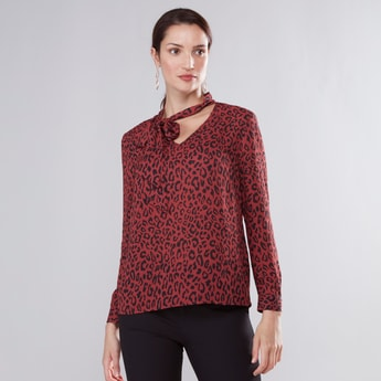 Animal Printed Top with V-neck and Long Sleeves