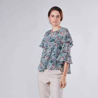 Floral Printed Top with Ruffle Detail and 3/4 Sleeves