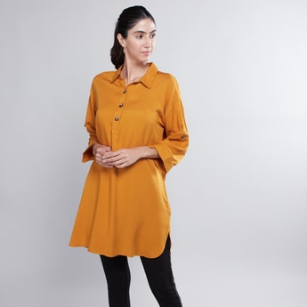 Plain Shirt Tunic with 3/4 Sleeves and Collar Neck