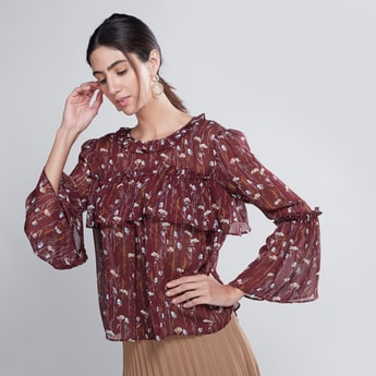 Printed Top with Bell Sleeves and Frill Detail