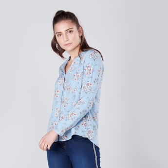 Floral Print V-neck Shirt with Patch Pocket and Long Sleeves