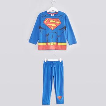 Superman Printed Round Neck T-shirt and Pyjama Set