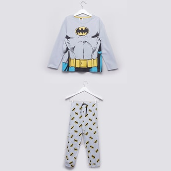 Batman Printed Round Neck T-shirt with Full Length Jog Pants
