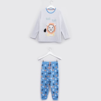 Printed T-shirt with Applique Detail and Jog Pants