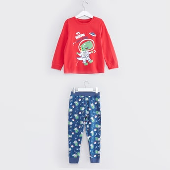 Printed Round Neck T-shirt with Jog Pants Set