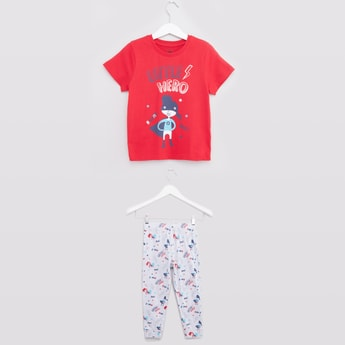 Printed Round Neck T-shirt and Pyjama Set