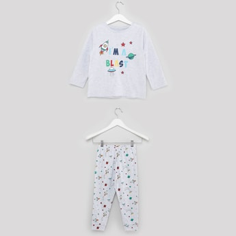 Printed T-shirt and Pyjamas with Elasticated Waistband