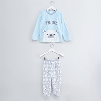 Textured Long Sleeves T-shirt with Printed Jog Pants