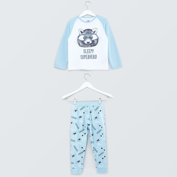 Printed Raglan Sleeves T-shirt and Printed Jog Pants Set