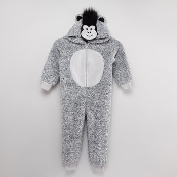Textured Sleepsuit with Long Sleeves and Applique Detail