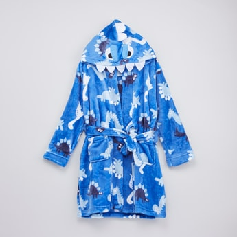 Dino Printed Robe with Hood and Tie Ups