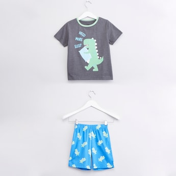 Dinosaur Printed T-shirt with Elasticised Shorts