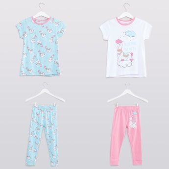 Set of 2 - Printed Round Neck T-shirts and Pyjama Pants