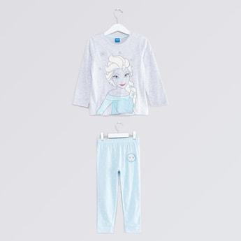 Frozen Elsa Printed T-shirt and Jog Pants Set