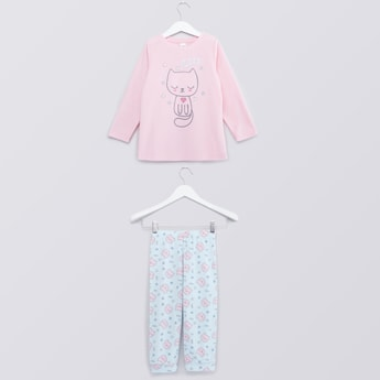 Printed T-shirt and Full Length Jog Pants Set