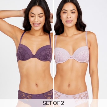Set of 2 - Assorted Lace Detail Demi Bra with Hook and Eye Closure