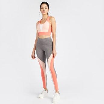 Slim Fit Full Length Colourblock Leggings with Elasticated Waistband