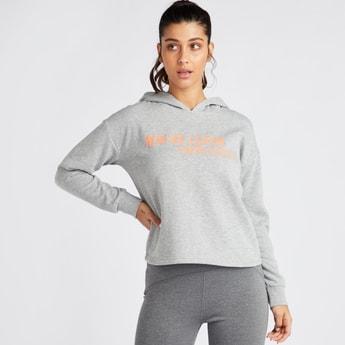 Slogan Print Sweatshirt with Long Sleeves and Hood